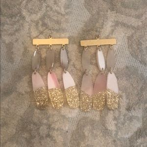 Anthropologie gold and pink earrings